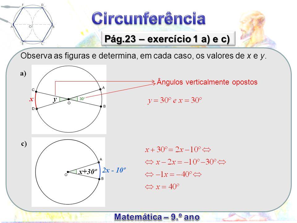 Observa as figuras e determina, em cada caso, os valores de x e y. Pág.23 – exercício 1 a) e c) xy a) c) x+30º 2x - 10º Ângulos verticalmente opostos