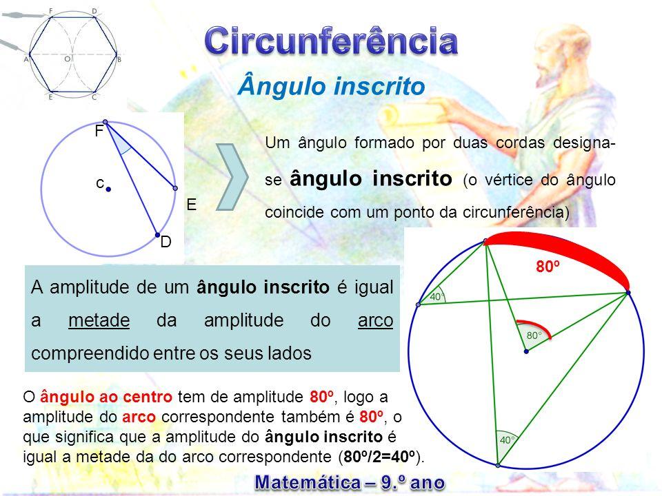 Observa a figura e indica: Pág.15 – exercício 6 a) Um ângulo ao centro; b) Um ângulo inscrito; c) Um arco de circunferência; d) Um raio de circunferência; e) Uma corda da circunferência.