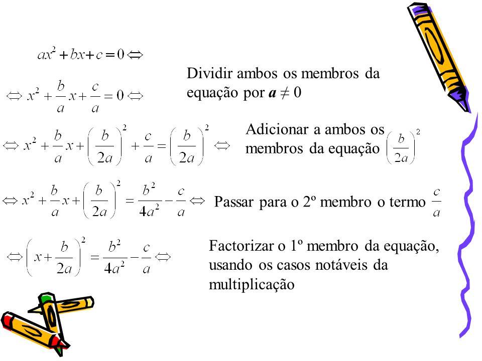 Por aplicação dos casos notáveis da multiplicação é possível resolver equações de 2.º grau completas, transformando-as num produto de equações de 1.º