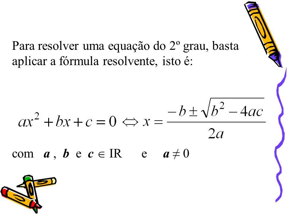 Fórmula Resolvente Fórmula Resolvente Reduzimos o 2º membro ao mesmo denominador e escrevemos na forma de uma única fracção Retiramos o quadrado do 1º