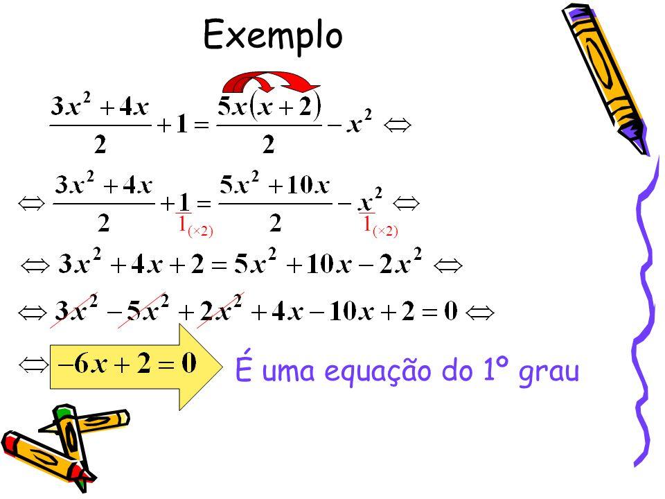 Exemplo 1 (×2) 1 (×2) É uma equação do 1º grau