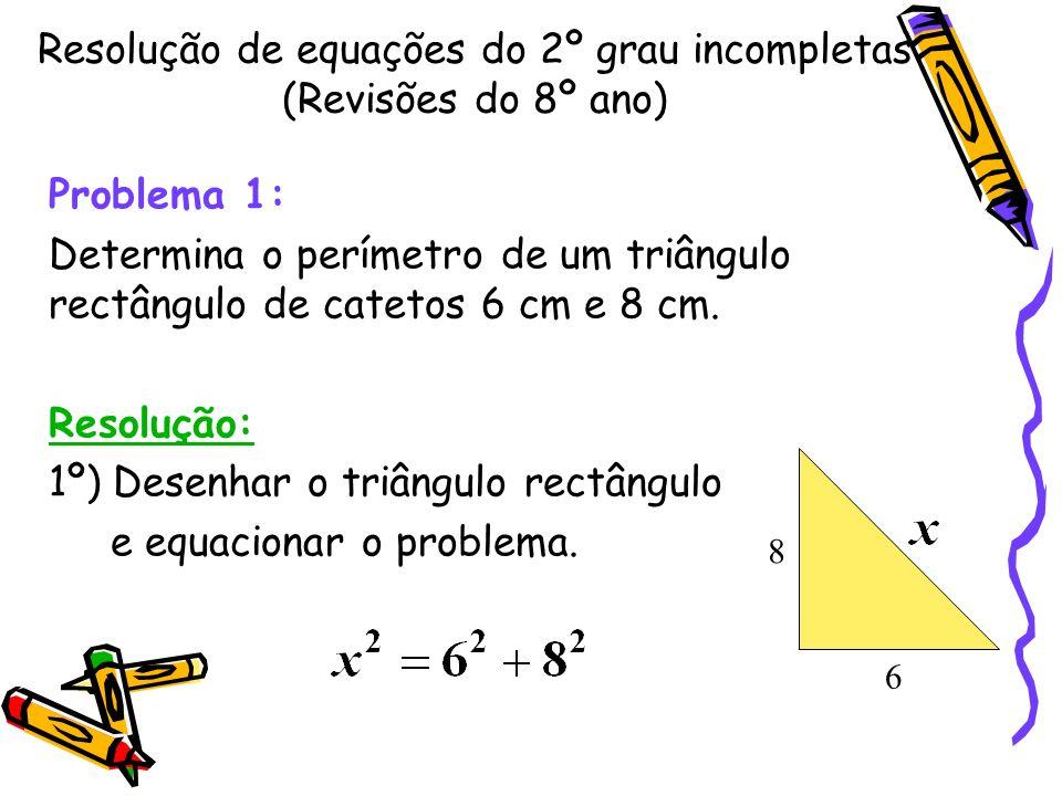 Uma equação do 2º grau é incompleta quando b ou c é igual a zero, ou ainda, quando ambos são iguais a zero. Equações da forma ax² +bx = 0, (c = 0) x²