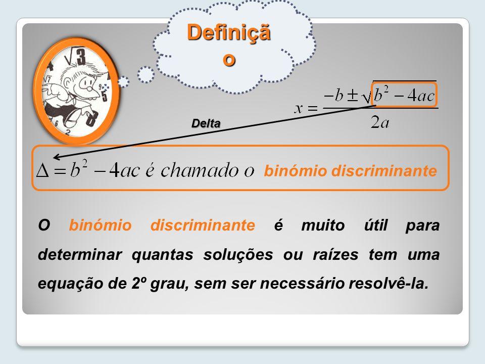 Definiçã o binómio discriminante O binómio discriminante é muito útil para determinar quantas soluções ou raízes tem uma equação de 2º grau, sem ser n