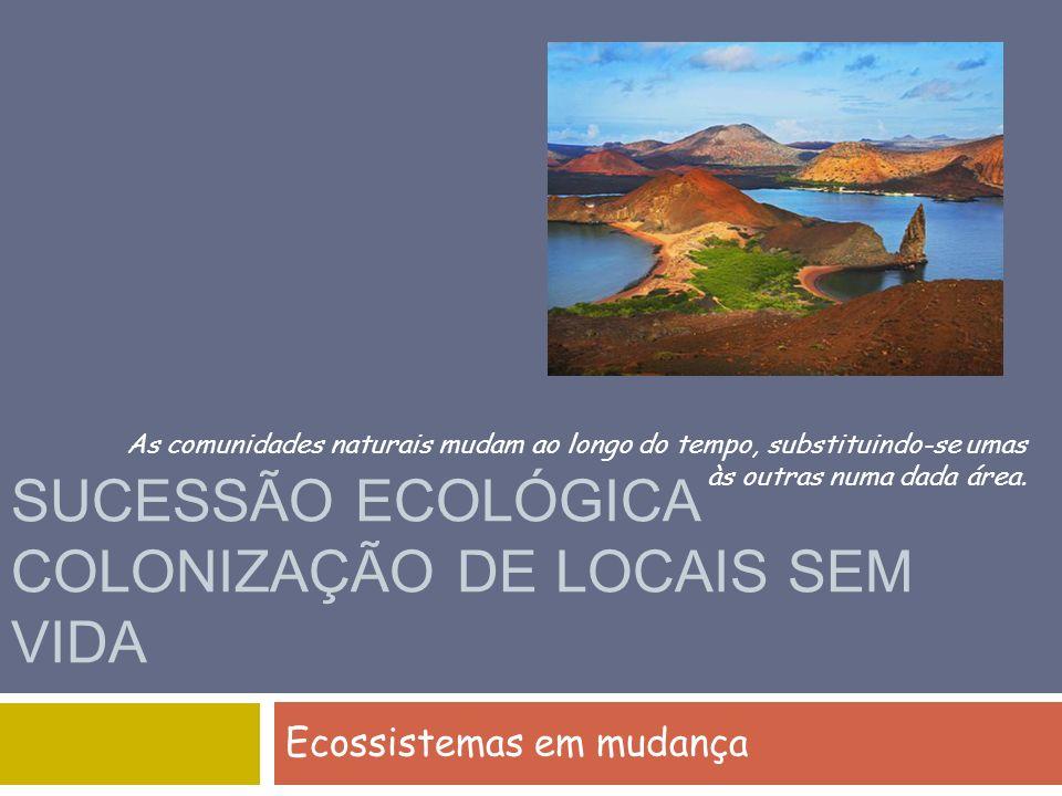 SUCESSÃO ECOLÓGICA COLONIZAÇÃO DE LOCAIS SEM VIDA Ecossistemas em mudança As comunidades naturais mudam ao longo do tempo, substituindo-se umas às out