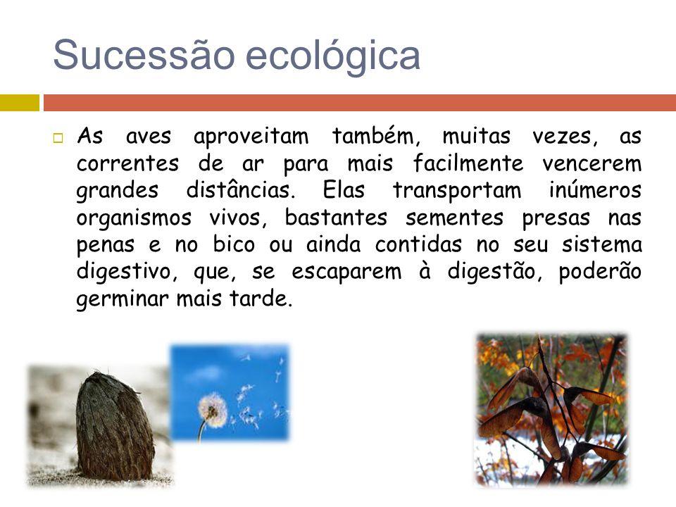 Sucessão ecológica As aves aproveitam também, muitas vezes, as correntes de ar para mais facilmente vencerem grandes distâncias. Elas transportam inúm
