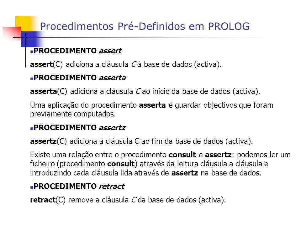 Procedimentos Pré-Definidos em PROLOG PROCEDIMENTO assert assert(C) adiciona a cláusula C à base de dados (activa).