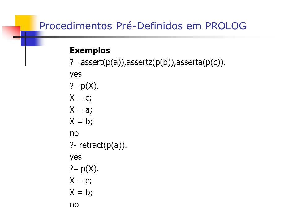Procedimentos Pré-Definidos em PROLOG Exemplos . assert(p(a)),assertz(p(b)),asserta(p(c)).