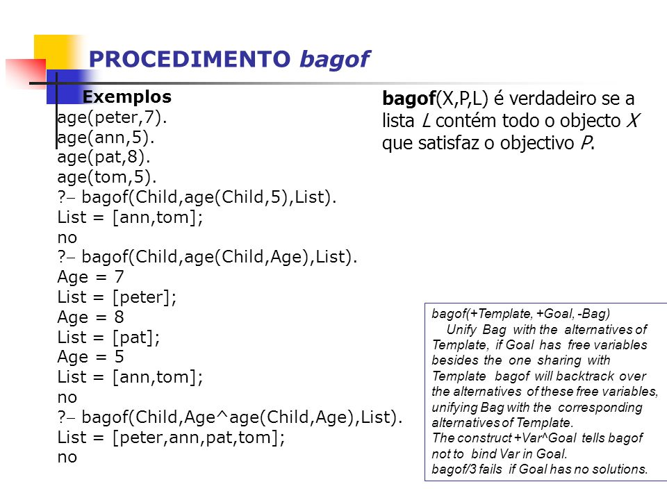 PROCEDIMENTO bagof Exemplos age(peter,7). age(ann,5). age(pat,8). age(tom,5). ? bagof(Child,age(Child,5),List). List = [ann,tom]; no ? bagof(Child,age