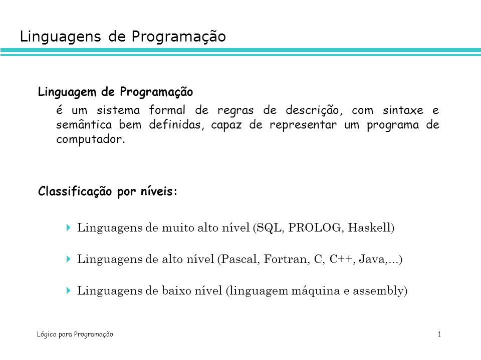 Lógica para Programação 1 Linguagens de Programação Linguagem de Programação é um sistema formal de regras de descrição, com sintaxe e semântica bem d