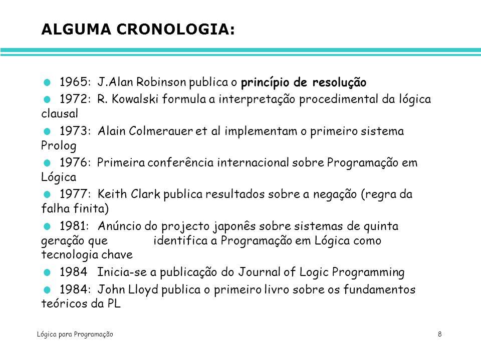 Lógica para Programação 8 ALGUMA CRONOLOGIA: 1965:J.Alan Robinson publica o princípio de resolução 1972:R. Kowalski formula a interpretação procedimen