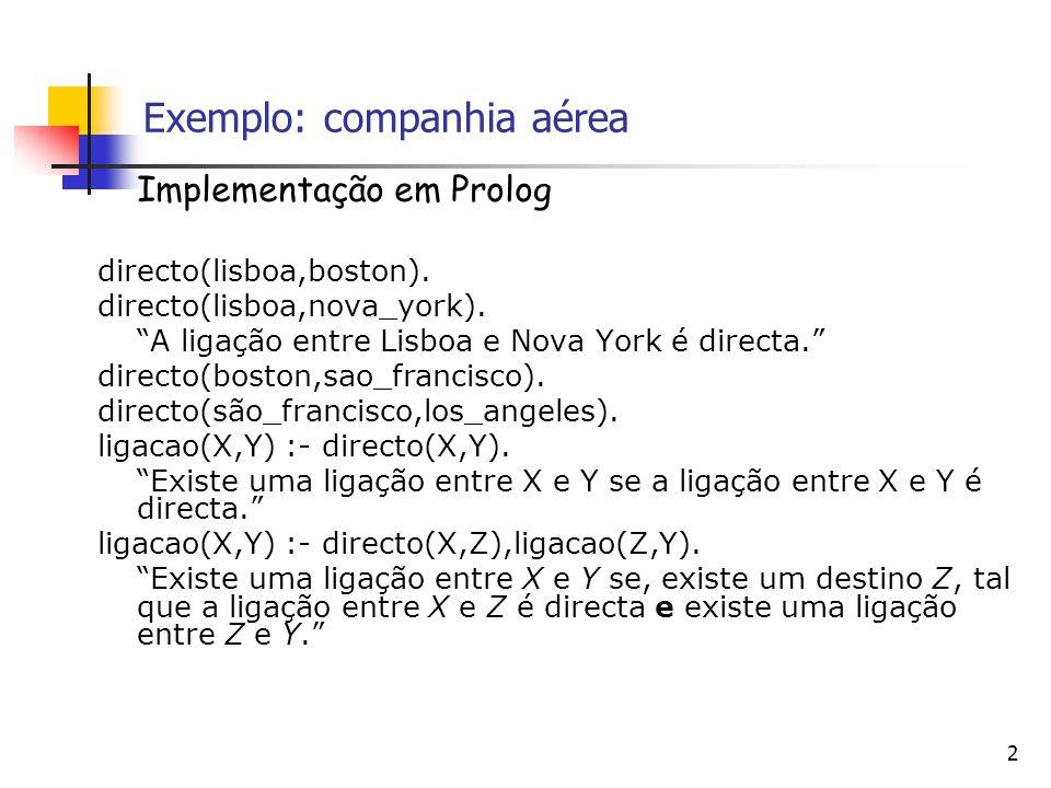 2 Exemplo: companhia aérea Implementação em Prolog directo(lisboa,boston).