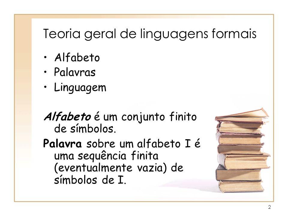 2 Teoria geral de linguagens formais Alfabeto Palavras Linguagem Alfabeto é um conjunto finito de símbolos. Palavra sobre um alfabeto I é uma sequênci