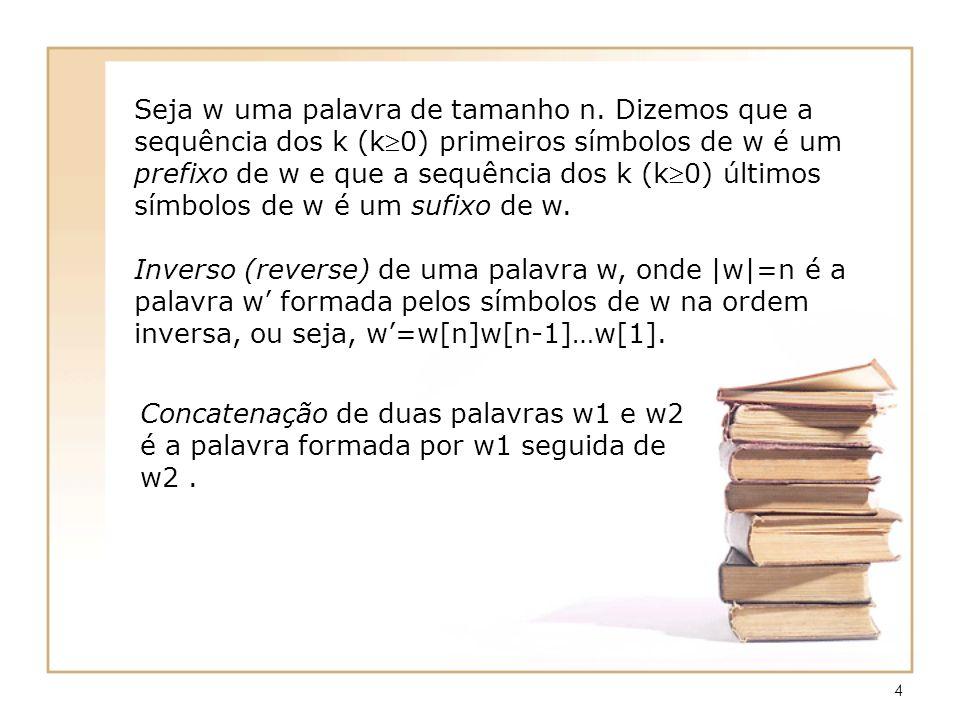 4 Seja w uma palavra de tamanho n. Dizemos que a sequência dos k (k0) primeiros símbolos de w é um prefixo de w e que a sequência dos k (k0) últimos s