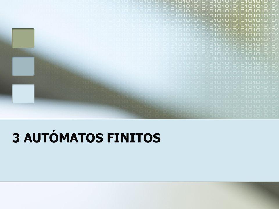 2 AUTÓMATOS FINITOS Sistemas com um número finito de estados: Elevador Circuitos booleanos Jogos de tabuleiro Computadores Cérebro humano Etc.