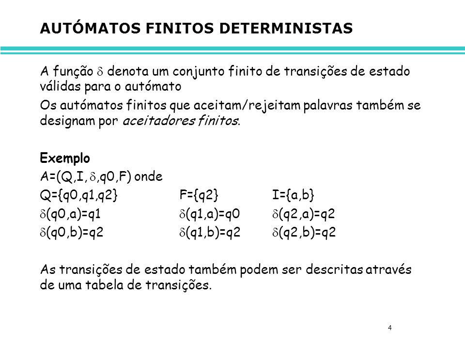 5 AUTÓMATOS FINITOS DETERMINISTAS Os autómatos finitos também podem ser representados através de diagramas de transição, ou seja, grafos orientados etiquetados cujos vértices são representados por: etiquetado com o identificador do estado inicial, etiquetado com um identificador de estado terminal etiquetado com um estado não inicial e não terminal e cujas arestas são etiquetadas com o símbolo lido do alfabeto.