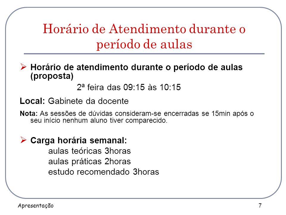 Apresentação 7 Horário de Atendimento durante o período de aulas Horário de atendimento durante o período de aulas (proposta) 2ª feira das 09:15 às 10