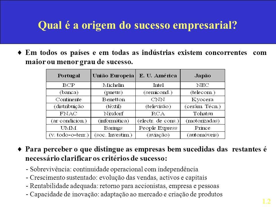 Qual é a origem do sucesso empresarial? Em todos os países e em todas as indústrias existem concorrentes com maior ou menor grau de sucesso. Para perc