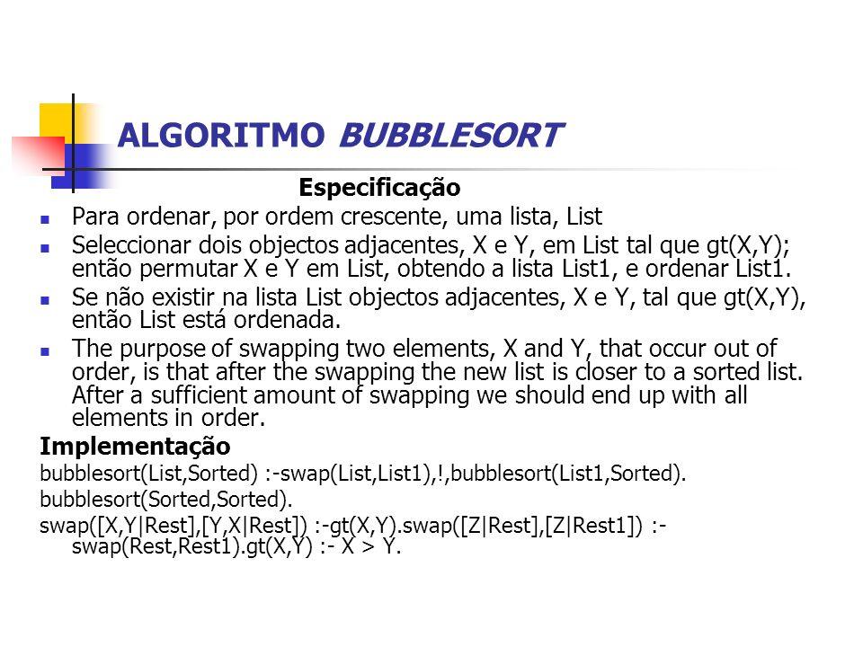 ALGORITMO BUBBLESORT Especificação Para ordenar, por ordem crescente, uma lista, List Seleccionar dois objectos adjacentes, X e Y, em List tal que gt(X,Y); então permutar X e Y em List, obtendo a lista List1, e ordenar List1.