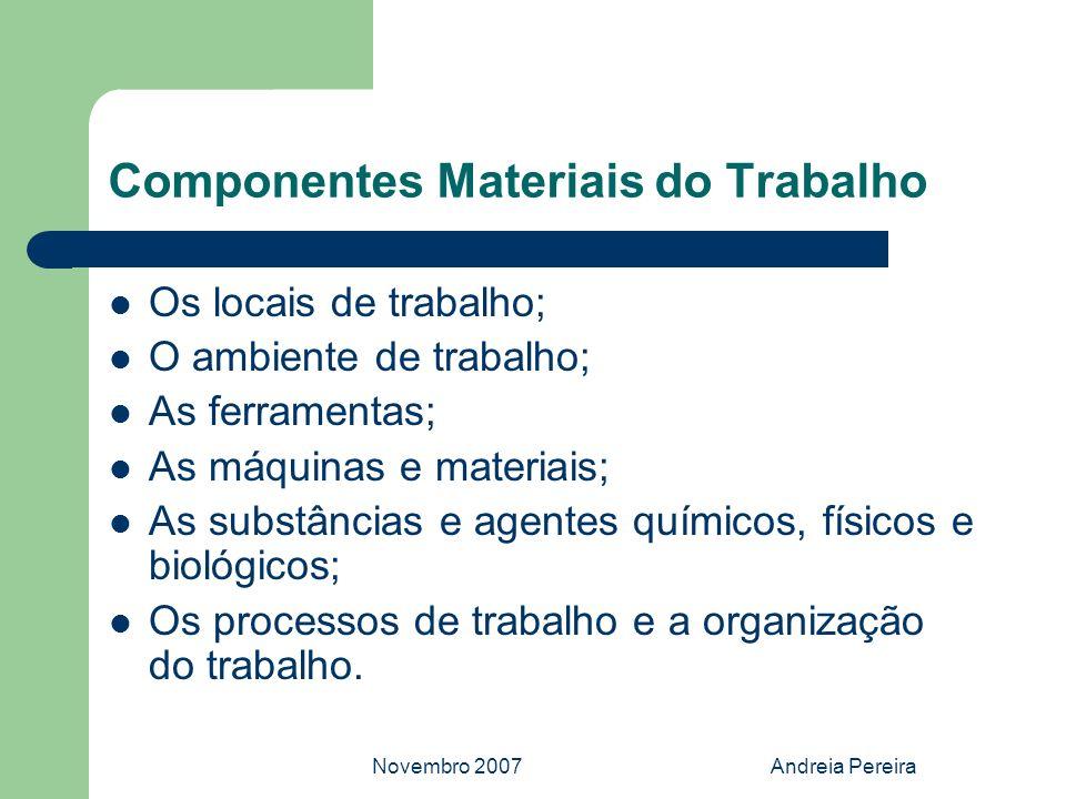 Novembro 2007Andreia Pereira Componentes Materiais do Trabalho Os locais de trabalho; O ambiente de trabalho; As ferramentas; As máquinas e materiais;