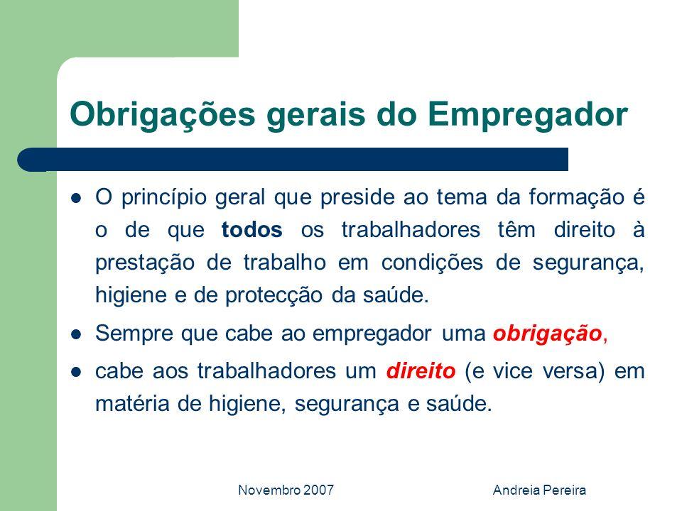 Novembro 2007Andreia Pereira Obrigações gerais do Empregador O princípio geral que preside ao tema da formação é o de que todos os trabalhadores têm d