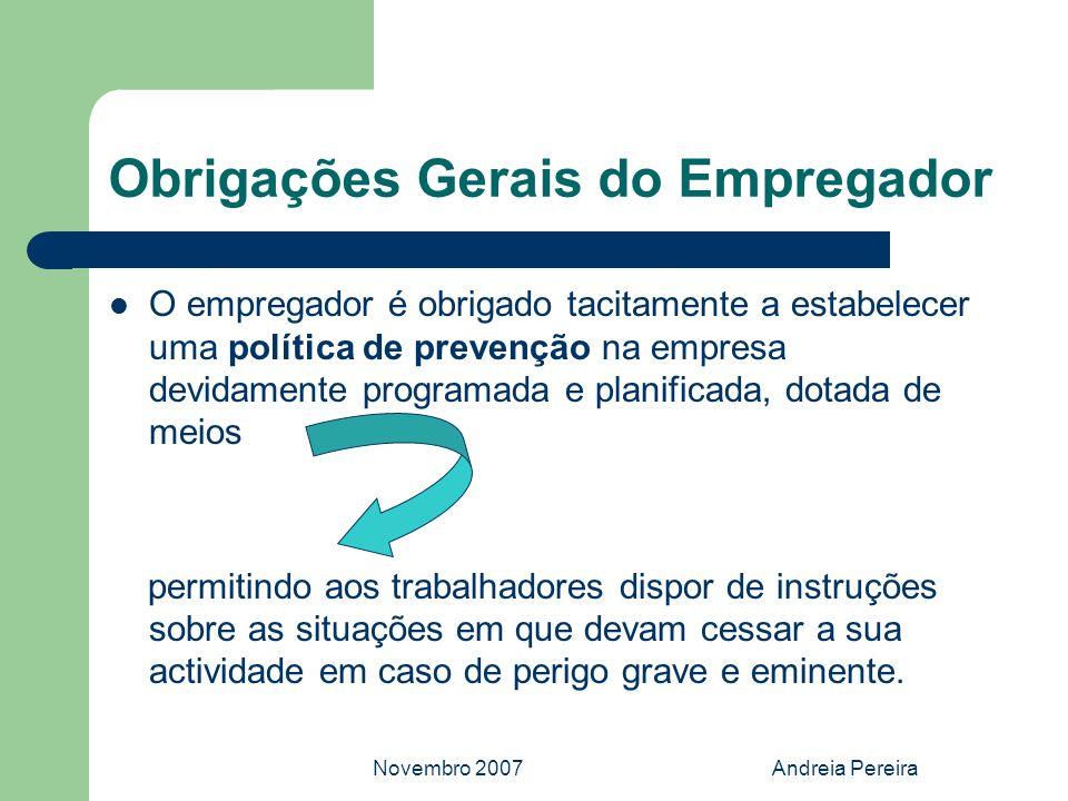 Novembro 2007Andreia Pereira Obrigações Gerais do Empregador O empregador é obrigado tacitamente a estabelecer uma política de prevenção na empresa de