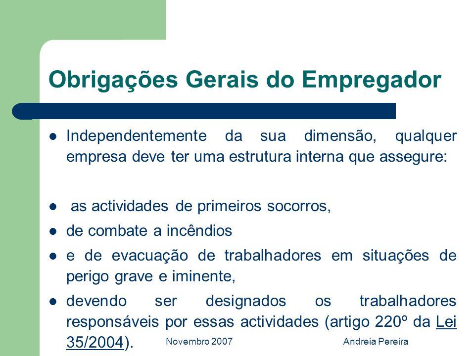 Novembro 2007Andreia Pereira Obrigações Gerais do Empregador Independentemente da sua dimensão, qualquer empresa deve ter uma estrutura interna que as