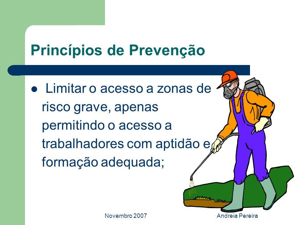 Novembro 2007Andreia Pereira Princípios de Prevenção Limitar o acesso a zonas de risco grave, apenas permitindo o acesso a trabalhadores com aptidão e