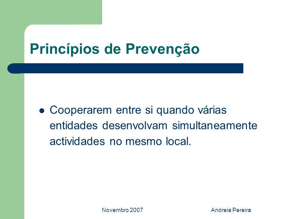 Novembro 2007Andreia Pereira Princípios de Prevenção Cooperarem entre si quando várias entidades desenvolvam simultaneamente actividades no mesmo loca