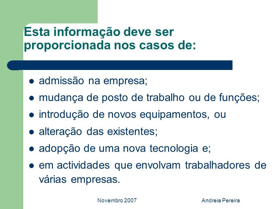 Novembro 2007Andreia Pereira Esta informação deve ser proporcionada nos casos de: admissão na empresa; mudança de posto de trabalho ou de funções; int
