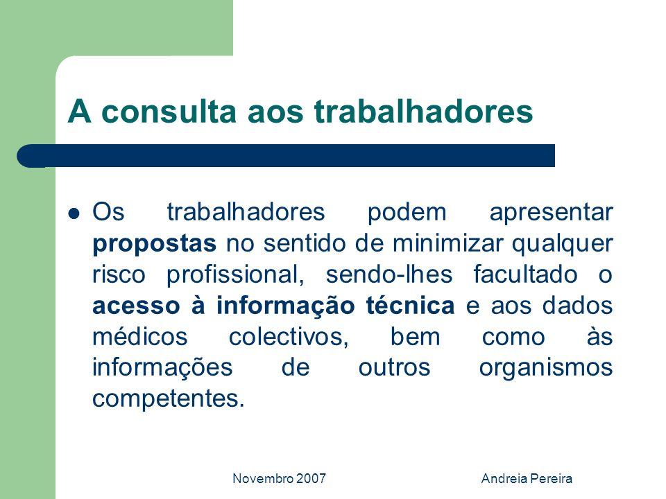Novembro 2007Andreia Pereira A consulta aos trabalhadores Os trabalhadores podem apresentar propostas no sentido de minimizar qualquer risco profissio