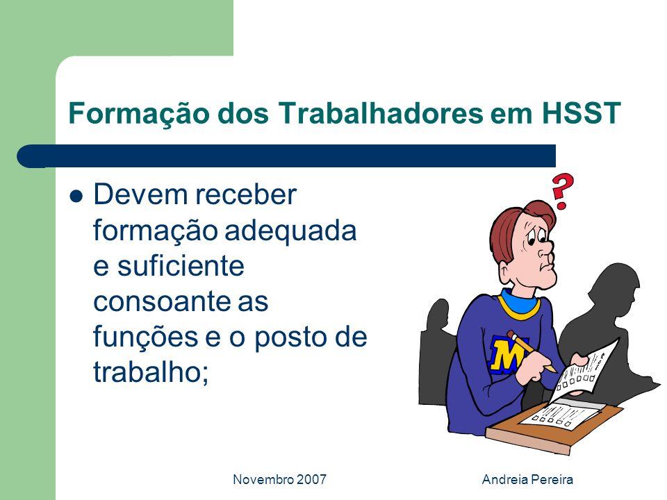 Novembro 2007Andreia Pereira Formação dos Trabalhadores em HSST Devem receber formação adequada e suficiente consoante as funções e o posto de trabalh