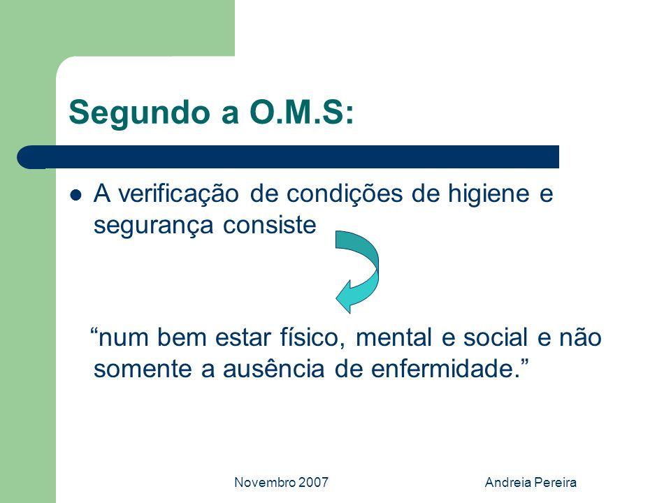 Novembro 2007Andreia Pereira Segundo a O.M.S: A verificação de condições de higiene e segurança consiste num bem estar físico, mental e social e não s