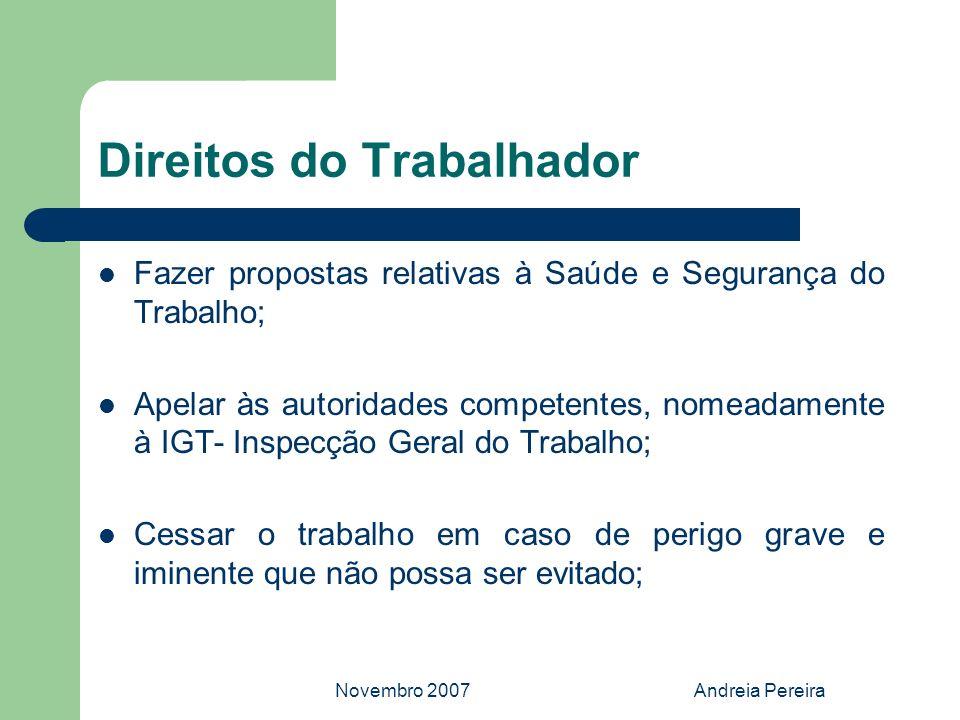 Novembro 2007Andreia Pereira Direitos do Trabalhador Fazer propostas relativas à Saúde e Segurança do Trabalho; Apelar às autoridades competentes, nom