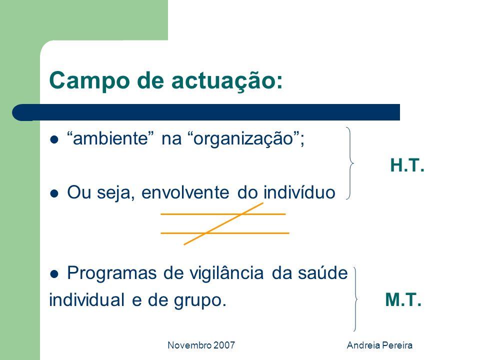 Novembro 2007Andreia Pereira Campo de actuação: ambiente na organização; H.T. Ou seja, envolvente do indivíduo Programas de vigilância da saúde indivi