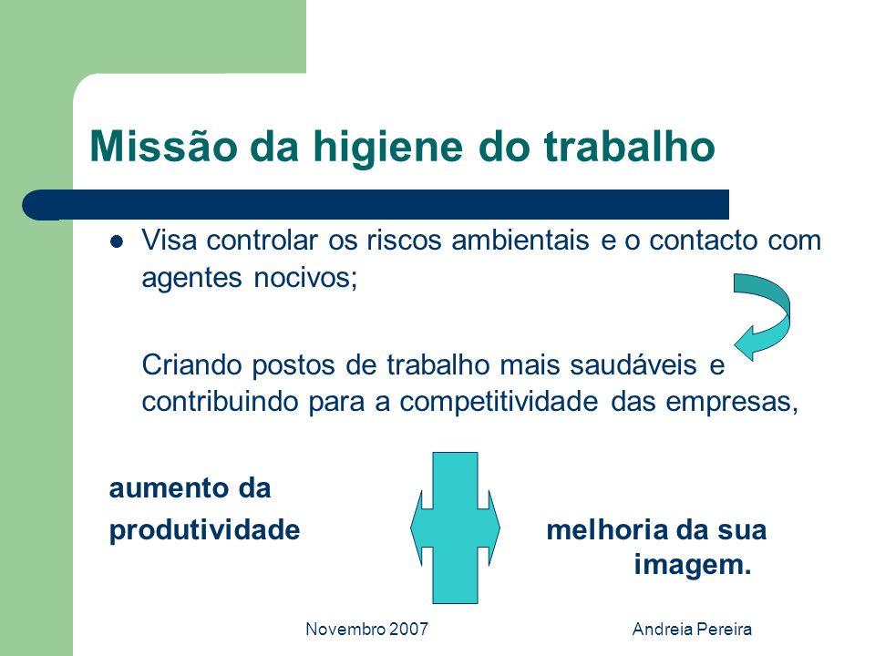 Novembro 2007Andreia Pereira Missão da higiene do trabalho Visa controlar os riscos ambientais e o contacto com agentes nocivos; Criando postos de tra