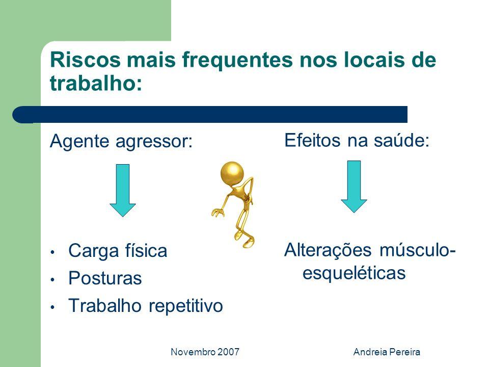 Novembro 2007Andreia Pereira Riscos mais frequentes nos locais de trabalho: Agente agressor: Carga física Posturas Trabalho repetitivo Efeitos na saúd