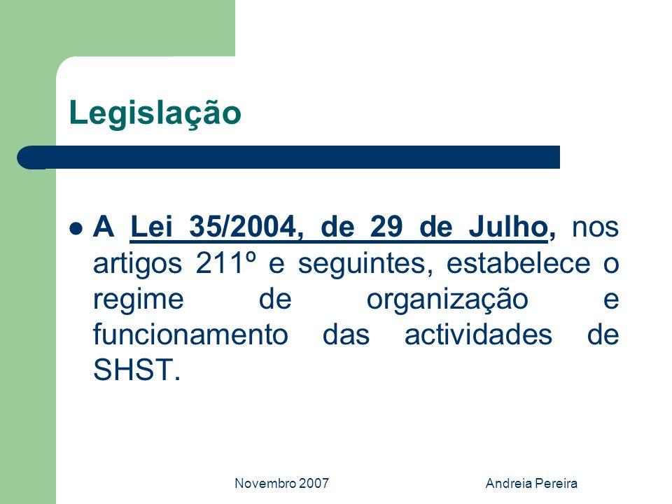Novembro 2007Andreia Pereira Legislação A Lei 35/2004, de 29 de Julho, nos artigos 211º e seguintes, estabelece o regime de organização e funcionament