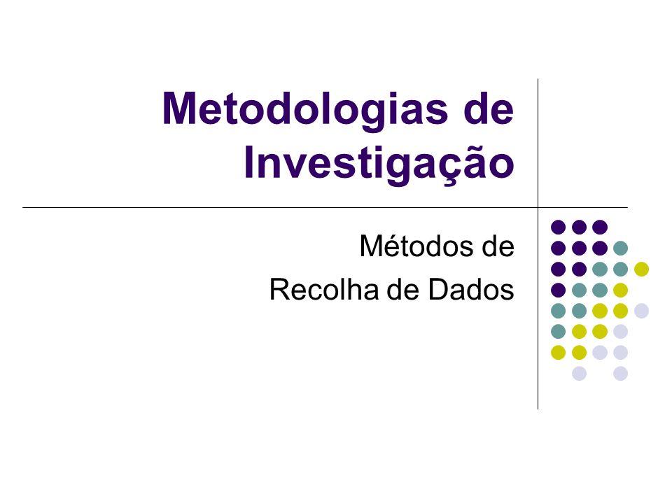 Métodos de Recolha de Dados Tópicos Fontes de Dados Tipos de Entrevistas Tipos de questionários Tipos de observação Definição de Questionários Comparação métodos de recolha