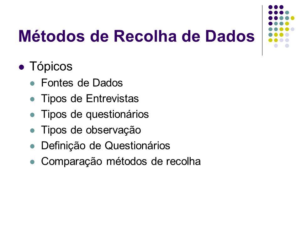 Métodos de Recolha de Dados Tópicos Fontes de Dados Tipos de Entrevistas Tipos de questionários Tipos de observação Definição de Questionários Compara