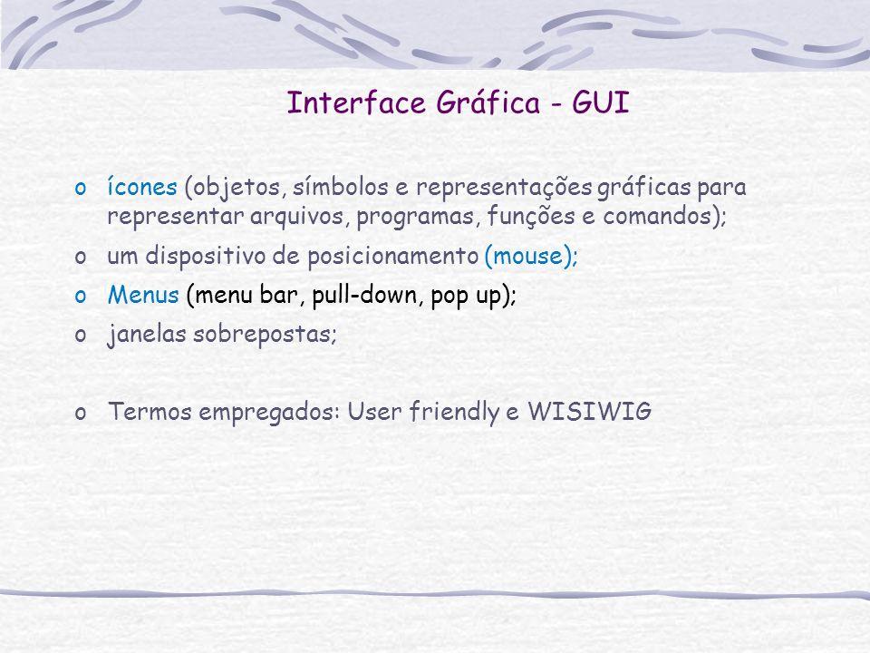 Interface Gráfica - GUI oícones (objetos, símbolos e representações gráficas para representar arquivos, programas, funções e comandos); oum dispositiv