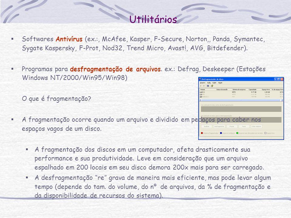 Utilitários Softwares Antivírus (ex.:, McAfee, Kasper, F-Secure, Norton,, Panda, Symantec, Sygate Kaspersky, F-Prot, Nod32, Trend Micro, Avast!, AVG,
