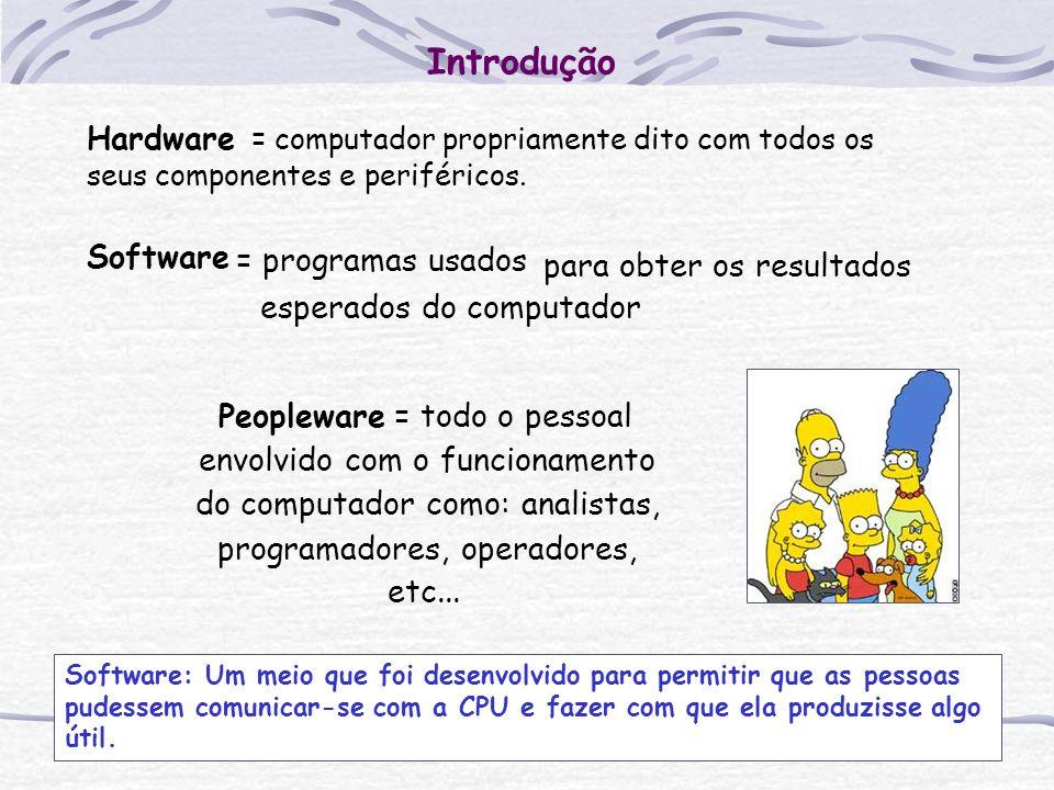 Introdução Hardware = computador propriamente dito com todos os seus componentes e periféricos. Software = programas usados para obter os resultados e