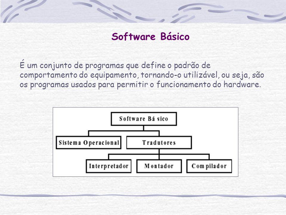 Software Básico É um conjunto de programas que define o padrão de comportamento do equipamento, tornando-o utilizável, ou seja, são os programas usado