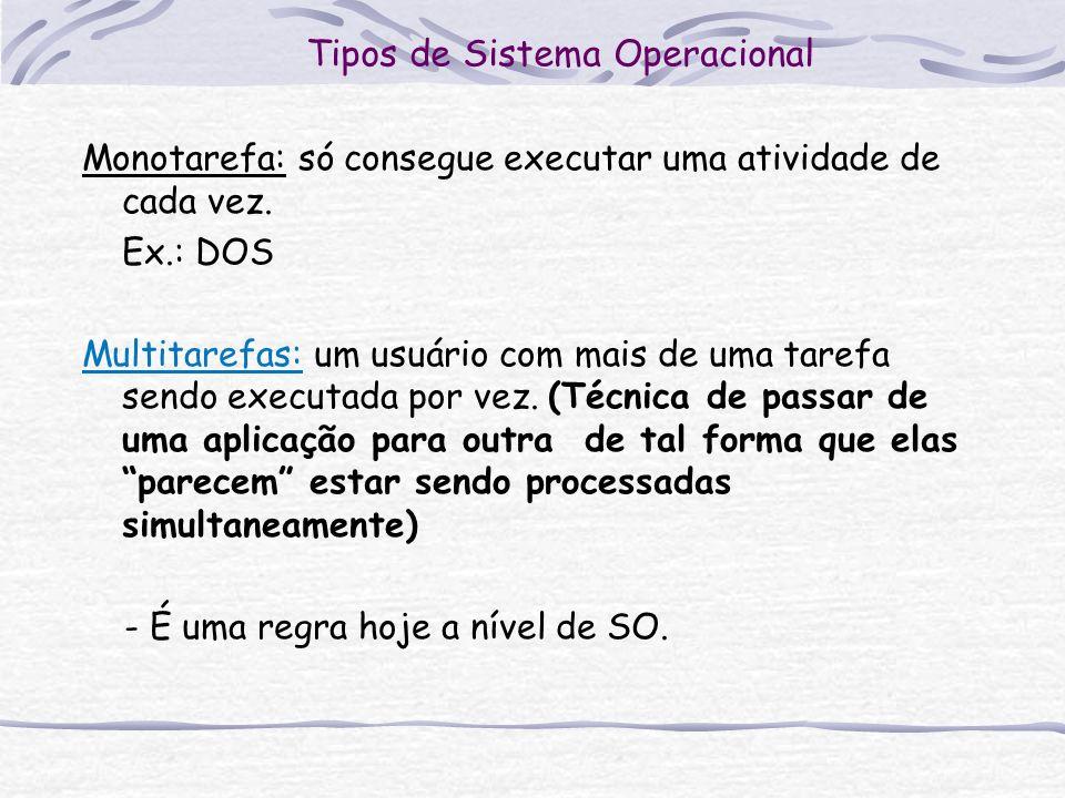 Tipos de Sistema Operacional Monotarefa: só consegue executar uma atividade de cada vez. Ex.: DOS Multitarefas: um usuário com mais de uma tarefa send