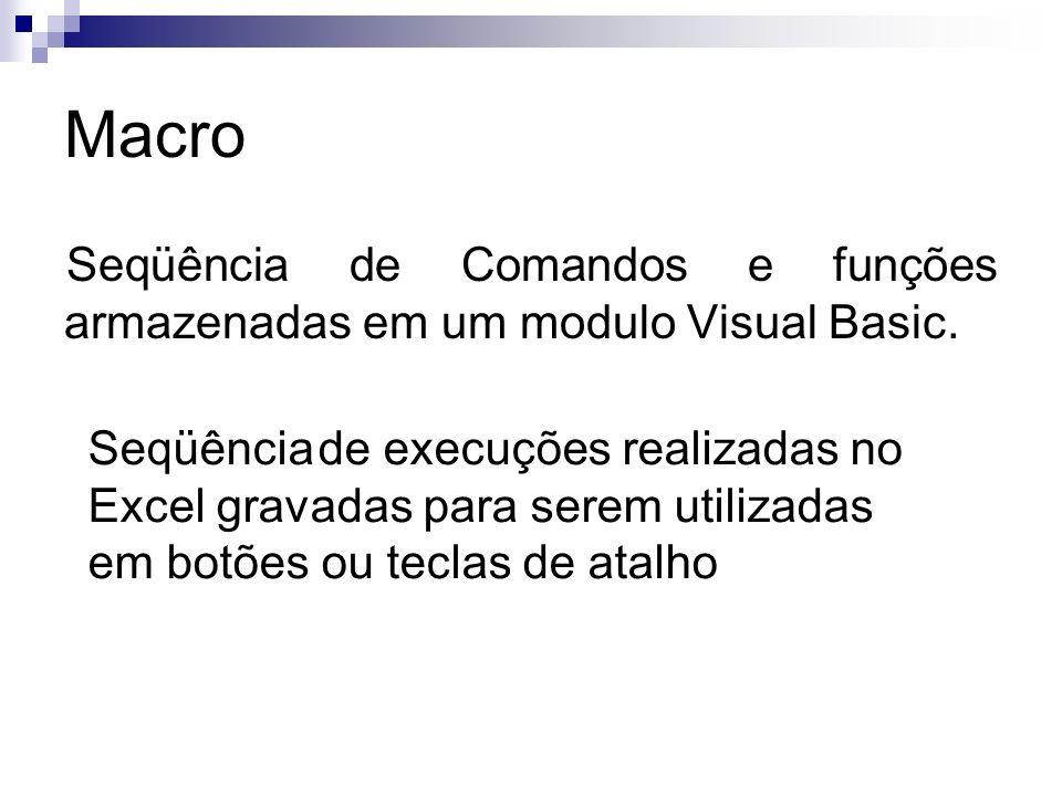 Macro Seqüência de Comandos e funções armazenadas em um modulo Visual Basic. Seqüência de execuções realizadas no Excel gravadas para serem utilizadas