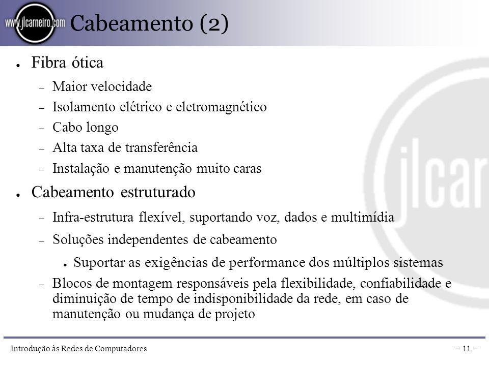 Introdução às Redes de Computadores– 10 – Cabeamento (1) Coaxial Blindado, oferece maior proteção contra interferências Cabo longo (200 e 500 metros)