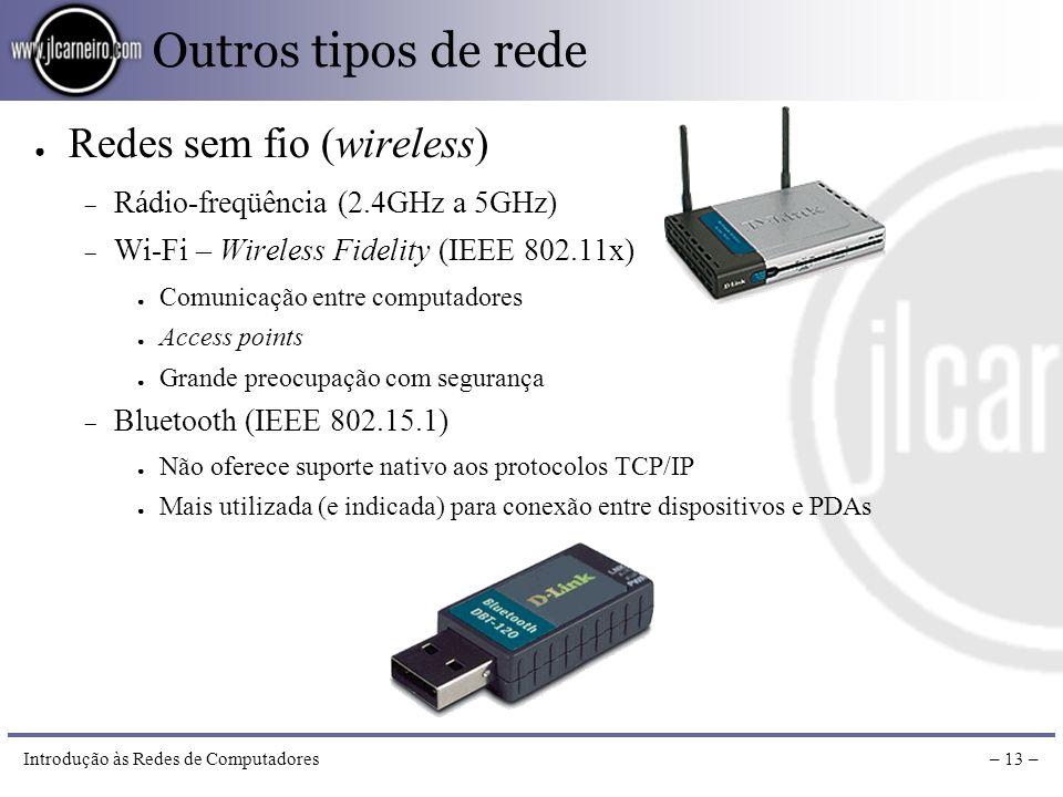 Introdução às Redes de Computadores– 12 – Arquiteturas de rede Ambiente cliente-servidor (Client-Server) Máquinas mais poderosas servem como servidore