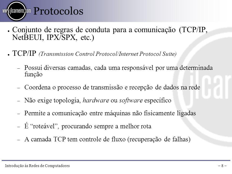 Introdução às Redes de Computadores– 7 – Equipamentos Concentrador (Hub) Centraliza a conexão de diversos equipamentos num mesmo segmento da rede, lig