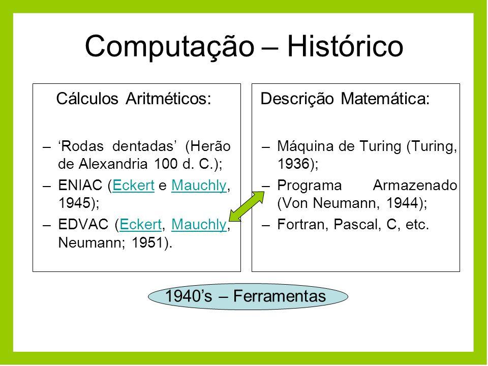Computação – Histórico Cálculos Aritméticos: –Rodas dentadas (Herão de Alexandria 100 d. C.); –ENIAC (Eckert e Mauchly, 1945);EckertMauchly –EDVAC (Ec