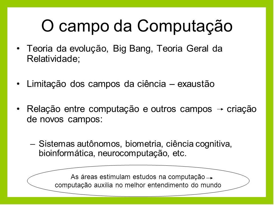O campo da Computação Teoria da evolução, Big Bang, Teoria Geral da Relatividade; Limitação dos campos da ciência – exaustão Relação entre computação